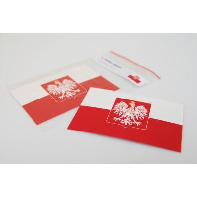 Naklejka Flaga Polski ze stylizowanym godłem 110 x 75 mm zestaw 20 sztuk