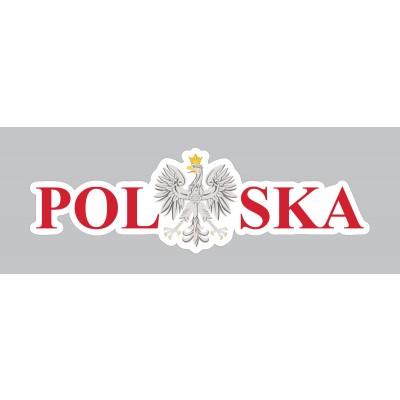 Naklejka Polska 120 x 38 mm nacinana - czerwona