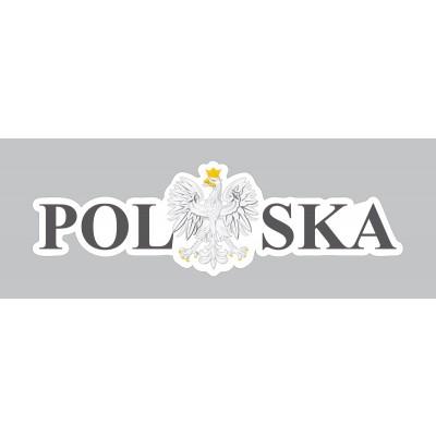 Naklejka Polska 120 x 38 mm nacinana - czarna