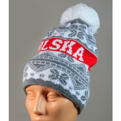 Czapka kibica zimowa szara Polska