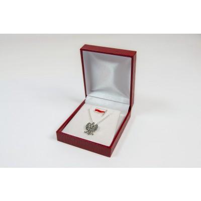 Zestaw wisiorek z łańcuszkiem orzeł i Pin flaga - srebro próby 925