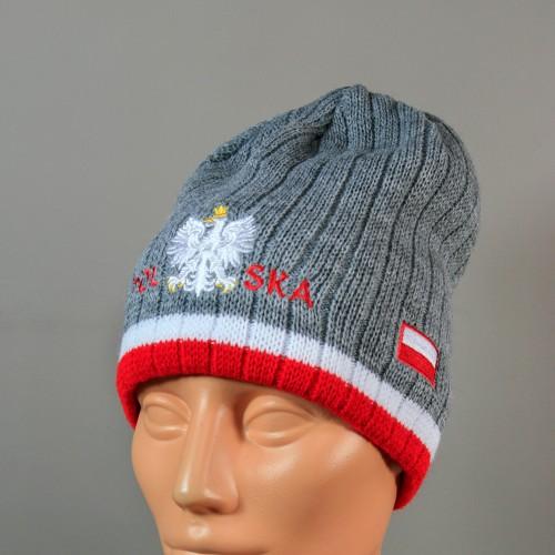 Czapka kibica zimowa flaga Polska szara prążki