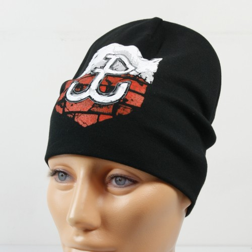 Czarna cienka czapka ze znakiem Polski Walczącej - wzór 3