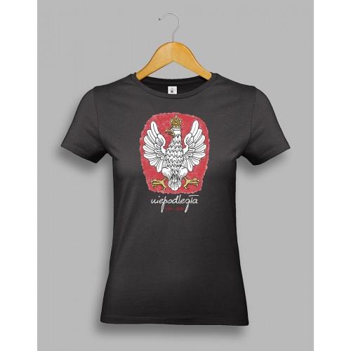 Damska czarna koszulka z orłem, stylizowanym na godło Polski 1918-2018