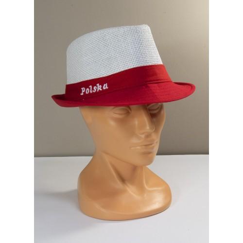 Biało-czerwony przewiewny kapelusz kibica z napisem Polska