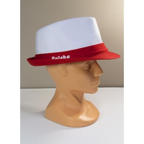 Biało-czerwony kapelusz kibica z napisem Polska