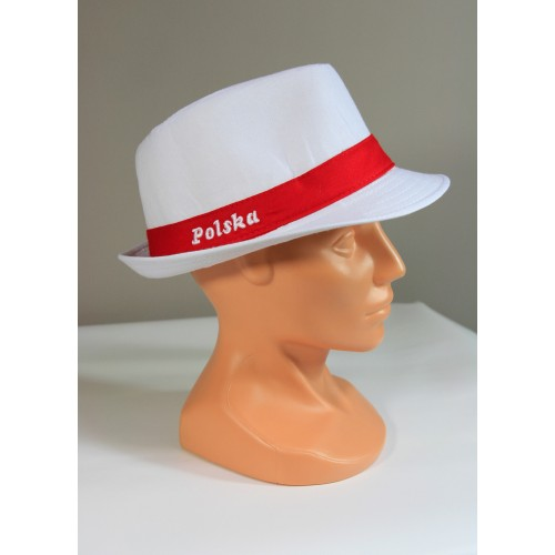 Biały kapelusz kibica z napisem Polska