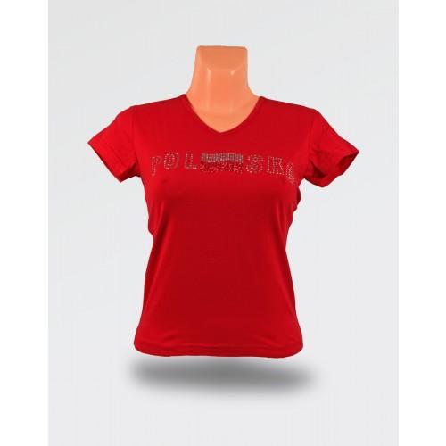 Koszulka damska czerwona brokat flaga