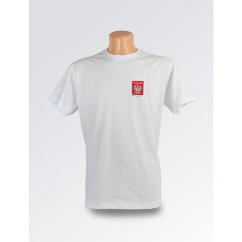 Biała koszulka ze stylizowanym godłem Polski