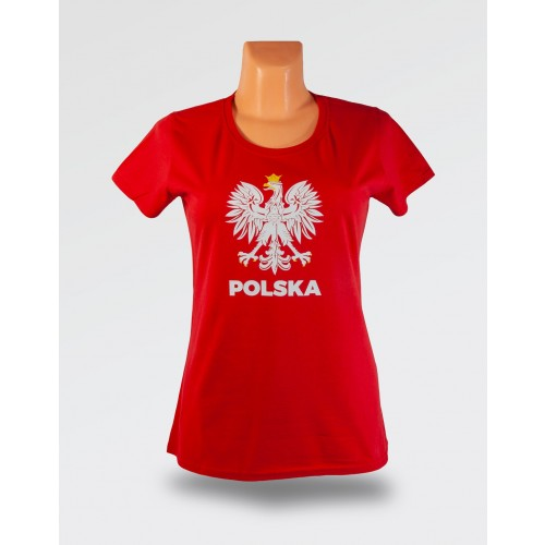 WDK czerwona koszulka z orłem w koronie damska