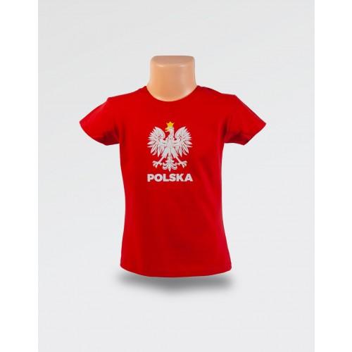 WDK czerwona koszulka z orłem w koronie dla dziewczynki