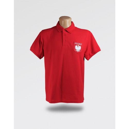 Koszulka Polo Czerwona Męska z orzełkiem i haftem Polska
