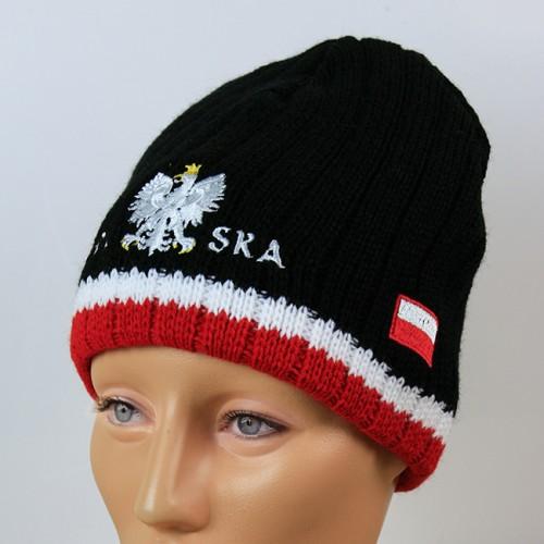 Czapka kibica zimowa flaga Polska czarna prążki