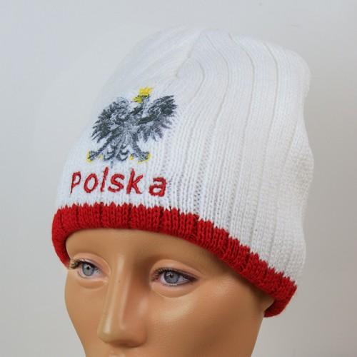 Czapka kibica zimowa biała orzeł Polska prążki