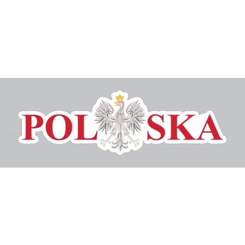 Naklejka Polska 120 x 38 mm nacinana - czerwona zestaw 20 sztuk