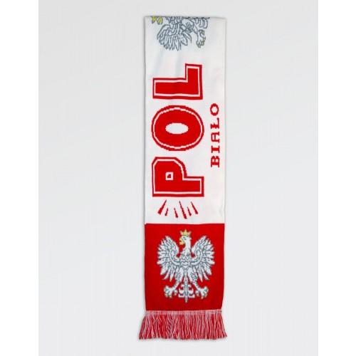Szalik kibica Polska Orzeł Biało-Czerwony II gruby dwustronny
