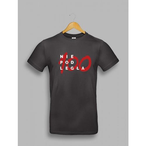 "Męska czarna koszulka ""Niepodległa 100"""