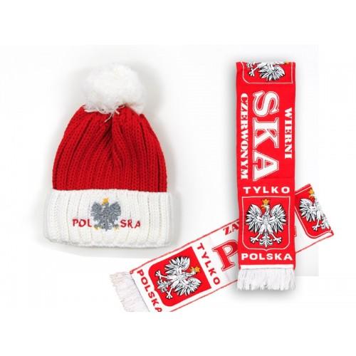 Zestaw zimowy szalik HD i czapka pompon biały
